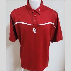 Sz L Red Sooners Nike Sphere-DRY Men #A50 Polo